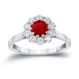 Auriya 14k Gold 3/5ct Ruby and 1/2ct TDW Round Diamond Halo Engagement Ring (Ruby, I1-I2)