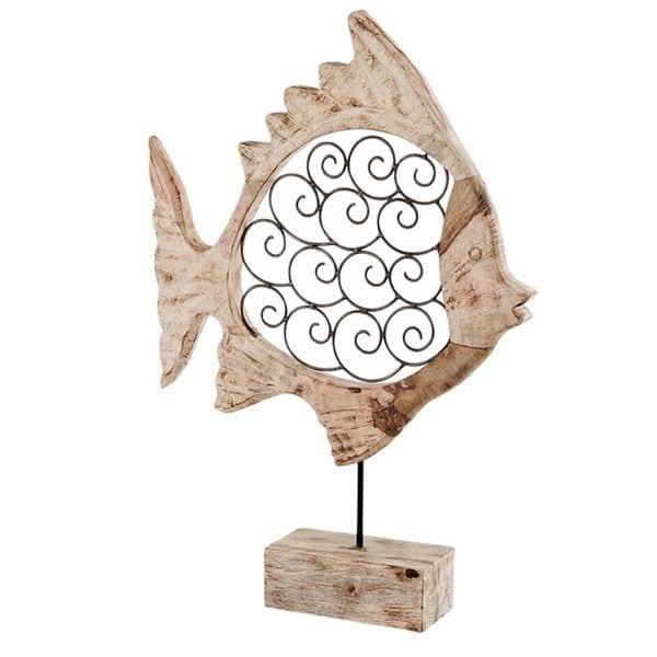 Voluta Iron Scroll Wood Fish on Stand
