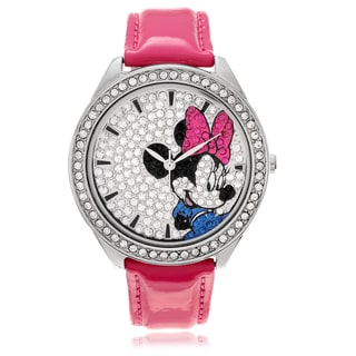 Disney Minnie Mouse Crystal Pink Leather Strap Band Watch