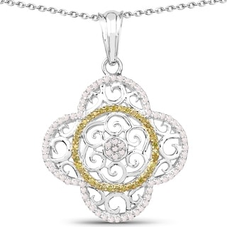 Olivia Leone Sterling Silver 3/5ct TDW White and Yellow Diamond Pendant (I-J, I2-I3)