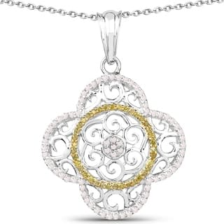 Olivia Leone Sterling Silver 3/5ct TDW White and Yellow Diamond Pendant|https://ak1.ostkcdn.com/images/products/11130599/P18131120.jpg?impolicy=medium
