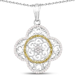 Olivia Leone Sterling Silver 3/5ct TDW White and Yellow Diamond Pendant
