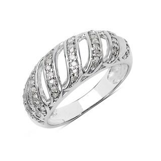 Olivia Leone Sterling Silver 1/4ct TDW White Diamond Ring