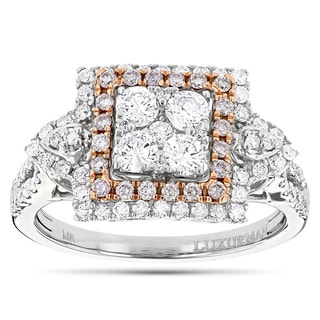 Luxurman 14k Two-tone Gold 1 2/5ct TDW Pink Diamond Cluster Ring (G-H, VS1-VS2)
