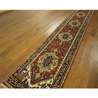 H9256 Red/ Ivory Wool Heriz Serapi Oriental Hand-knotted Area Rug (3' x 16')