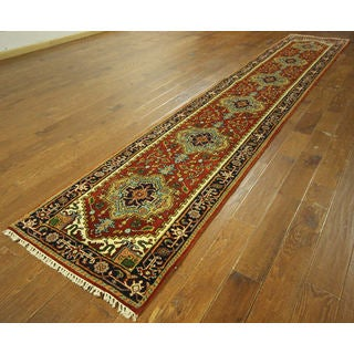 H9258 Red Wool Traditional Heriz Serapi Oriental Hand-knotted Runner Rug (3' x 16')