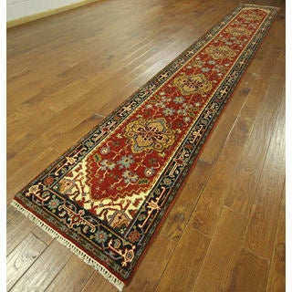 H9239 Red and Navy Blue Wool Heriz Serapi Hand-knotted Runner Rug (3' x 18')