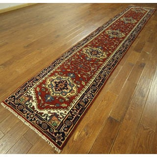 H9257 Red Wool Serapi Heriz Oriental Hand-knotted Area Rug (3' x 16')