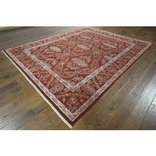 H9269 Red Wool and Silk Oriental Hand-knotted Area Rug (8' x 10')