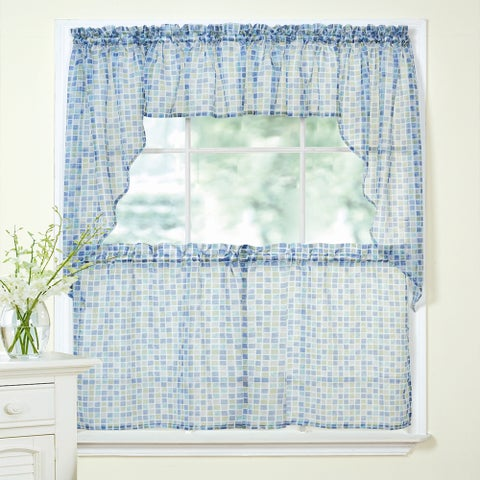 Blue and Green Tile Printed Sheer Voile Window Curtain Set