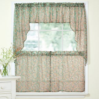 Beige Tile Printed Sheer Voile Window Curtain Set