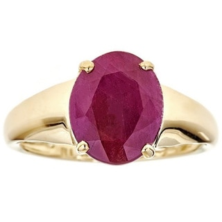 Anika and August 10k Yellow Gold Indian Ruby Ring Size 7