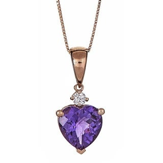 Anika and August 10k Rose Gold Heart-Cut Amethyst and Diamond Accent Pendant