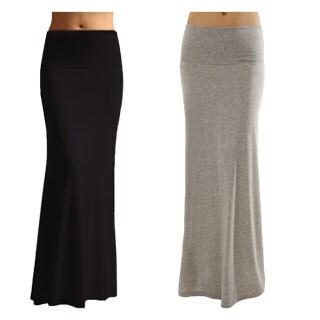 Women's Solid Black Rayon Spandex Maxi Skirt (Pack of 2) (Option: Medium - Grey/Black)