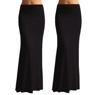 Womens Solid Black Rayon Spandex Maxi Skirt (Pack of 2)