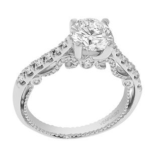 Verragio 18k White Gold Semi Mount Engagement Ring with CZ Center and 3/8 ctw. Diamonds (VS1-VS2, F-G)