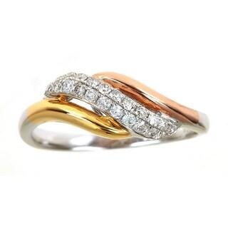 Anika and August 14k Three-tone Gold 1/3ct TDW Diamond Ring (G-H- I1-I2)