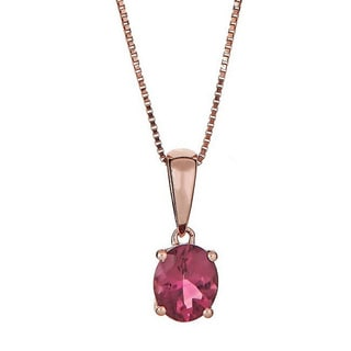 Anika and August 14k Rose Gold Pink Tourmaline Pendant
