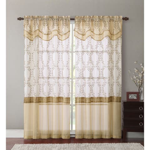 """VCNY Everwood Embroidered Sheer Curtain Panel with Attached Valance 55"""" x 90"""""""