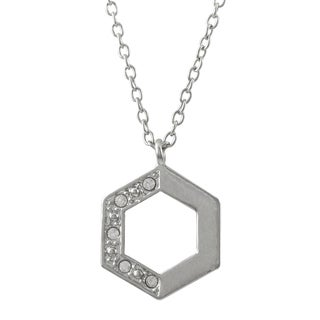 Luxiro Rhodium Finish Pave Crystals Geometric Hexagon Pendant Necklace