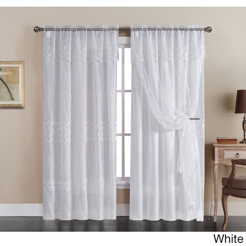 VCNY Josette Embroidered 55 x 90-inch Curtain Panel with Backing