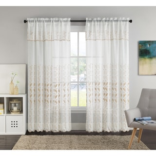 VCNY Lacie 55 x 90-inch Embroidered Curtain Panel with Attached Valance