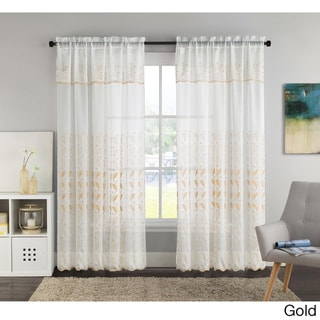 VCNY Lacie Embroidered Curtain Panel with Attached Valance