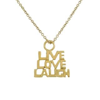 Luxiro Gold Finish Live Love Laugh Sentiment Pendant Necklace