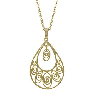 Luxiro Gold or Rhodium Finish Filigree Teardrop Pendant Necklace