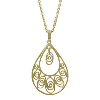 Luxiro Gold or Rhodium Finish Filigree Teardrop Pendant Necklace