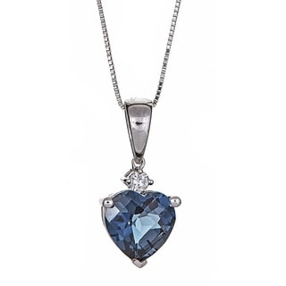 Anika and August 10k White Gold London Blue Topaz and Diamond Accent Heart Pendant