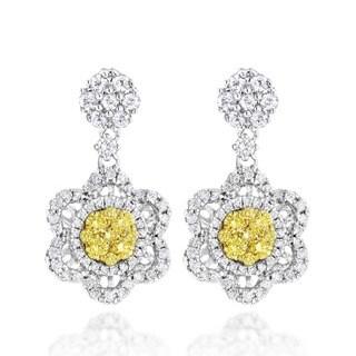 Luxurman 14k White Gold 2ct TDW White and Yellow Diamond Earrings (G-H, VS1-VS2)
