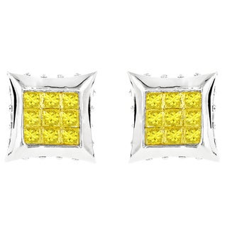 Luxurman 10k Gold 3/4ct TDW Canary Yellow Diamond Stud Earrings (H-I, SI1-SI2)