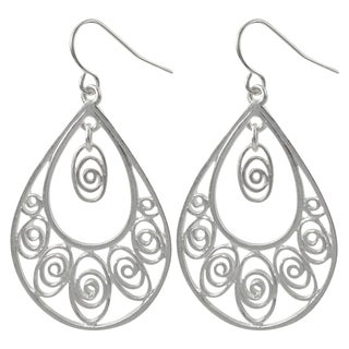 Luxiro Gold or Rhodium Finish Filigree Teardrop Dangle Earrings