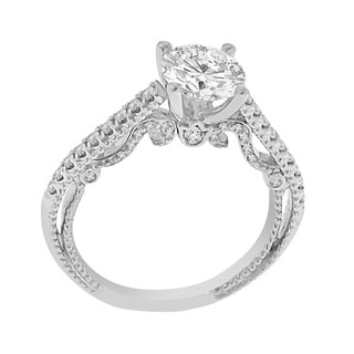 Verragio 18k White Gold Cubic Zirconia and 1/3ct TDW Diamond Semi Mount Ring (F-G, VS1-VS2)