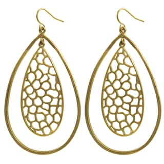 Luxiro Two-tone Gold and Rhodium Finish Filigree Lace Teardrop Earrings