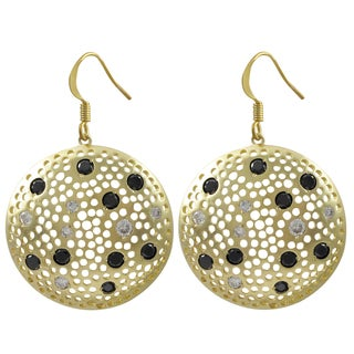Luxiro Matte Gold Finish Black and White Cubic Zirconia Disc Earrings
