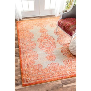nuLOOM Transitional Vintage Abstract Orange Rug (7'10 x 11')