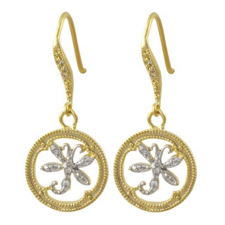 Luxiro Two-tone Matte Gold Finish Cubic Zirconia Dragonfly Earrings