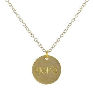 "Luxiro Gold Finish ""Hope"" Sentiment Tag Pendant Necklace"