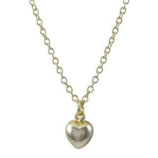 Luxiro Gold Finish Puffy Heart Children's Pendant Necklace