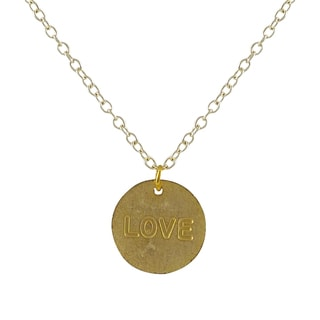 "Luxiro Gold Finish ""Love"" Sentiment Tag Pendant Necklace"