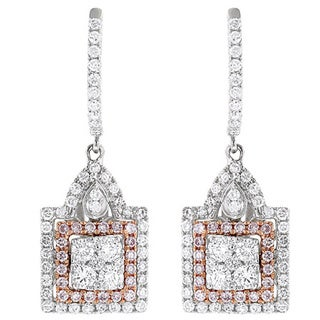 Luxurman 14k Two-tone Gold 1 3/4ct TDW White and Pink Diamond Earrings (G-H, VS1-VS2)