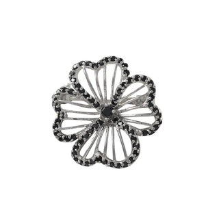Luxiro Sterling Silver Black Cubic Zirconia Four Leaf Clover Brooch