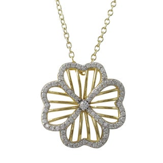 Luxiro Two-tone Sterling Silver Cubic Zirconia Four Leaf Clover Pendant Necklace