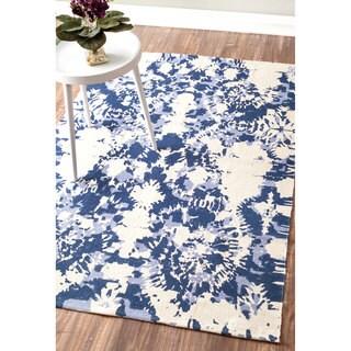 nuLOOM Flatweave Modern Tie Dye Printed Splatter Vintage Cotton Blue Rug (4' x 6')