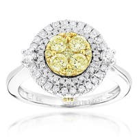 Luxurman 14k Two-tone Gold 1 1/5ct TDW White and Yellow Diamond Ring