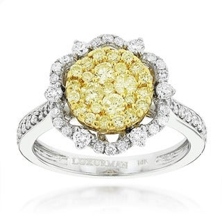 Luxurman 14k Two-tone Gold 1 1/5ct TDW White and Yellow Diamond Flower Ring (G-H, VS1-VS2)