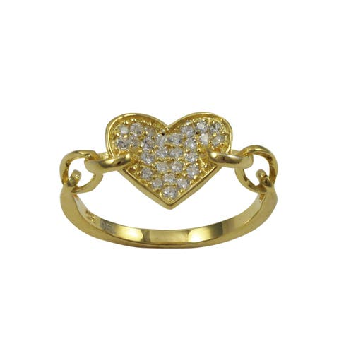 Luxiro Gold Finish Sterling Silver Cubic Zirconia Heart Children's Ring