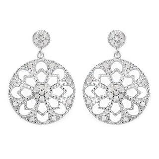 Olivia Leone Sterling Silver 5/8ct TDW White Diamond Earrings (I-J, I2-I3)